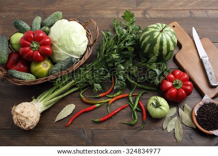 top view fresh assorted vegetables on rustic table background