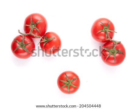 Top view fresh organic tomatoes isolated on white - stock photo