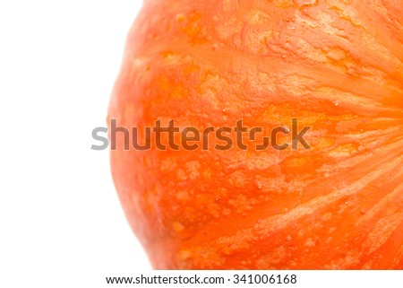 top view fresh pumpkin on white with clipping path - stock photo