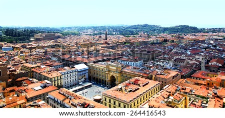 Top view from Campanile Giotto on the historical center of Florence, Italy