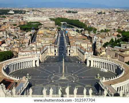 Top view from Vatican city, Rome, Italy