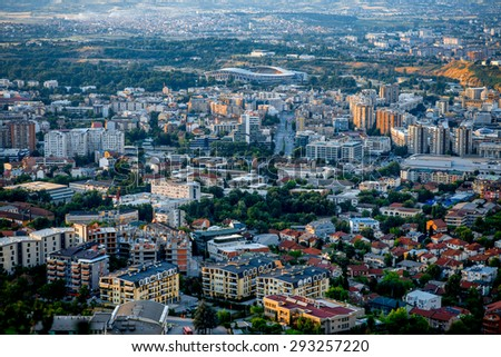 Top view from Vodno mountain on Skopje city in Macedonia on sunset
