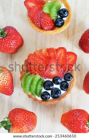 top view fruit tart - stock photo