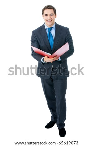 Top view full body portrait of happy smiling businessman with red folder, isolated on white background