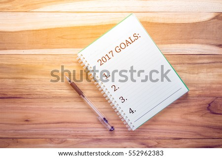 Top view 2017 GOALS list with notebook on wooden desk