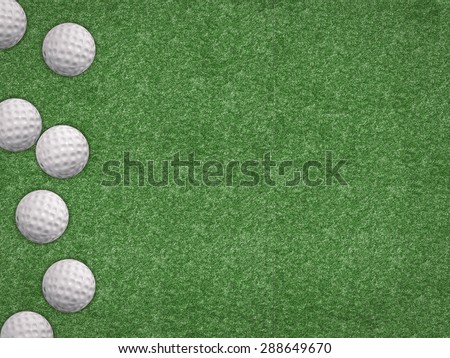 top view golf balls on green background - stock photo