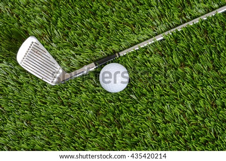 top view golf wedge club and ball - stock photo
