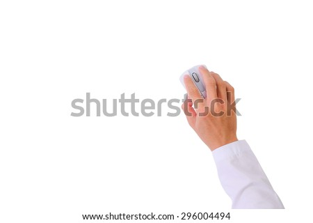 Top view Hand Holding Using Clicking Computer Mouse isolated on white background - stock photo