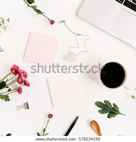 top view home office table desk pattern workspace with laptop wildflowers bouquet coffee feminine accessories s