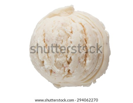 Top view, ice cream on white background, clipping path - stock photo