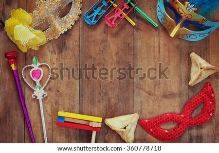 top view image of Purim celebration concept (jewish carnival holiday). selective focus - stock photo