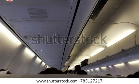 Top view interior of airplane