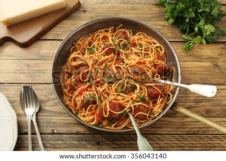 top view italian pasta with meatballs in tomato sauce - stock photo