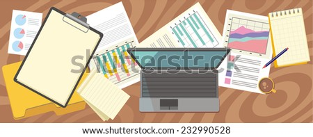 Top view laptop, notepad, pen over papers with numbers and charts on a desktop in office. View from above. Raster version - stock photo