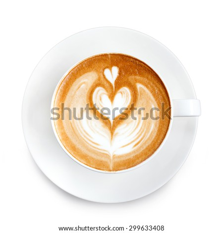 Top view latte art coffee  - stock photo
