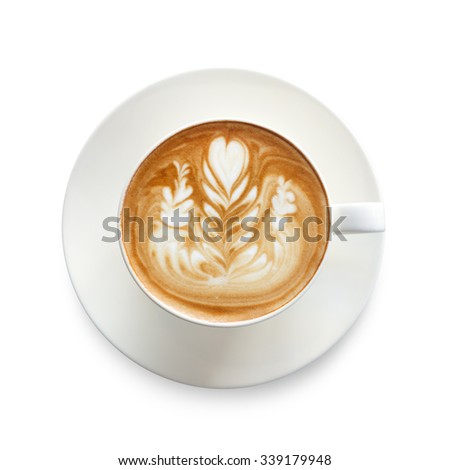 Top view latte art coffee