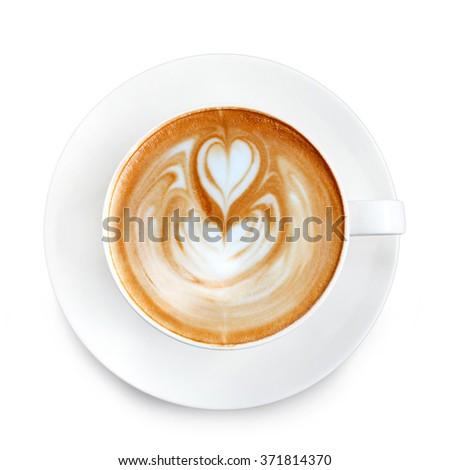 Top view latte art coffee - stock photo