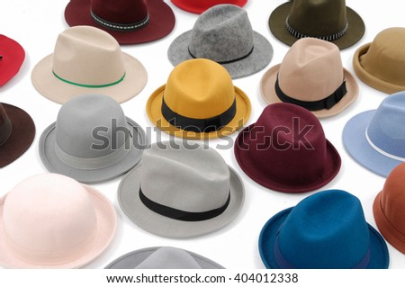 Top view many woman hat on white background - stock photo