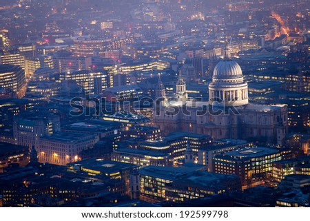 Top view, Millennium bridge and St. Paul's cathedral, London city  - stock photo
