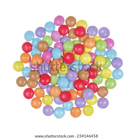 top view multicolor candy isolated on white background - stock photo