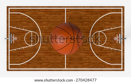 top view of a basketball field with a big ball on white background (3d render)