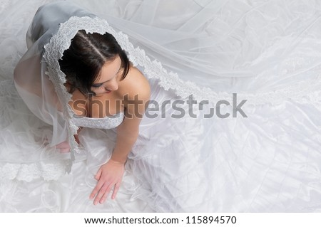 Top view of a beautiful bride with white wedding dress and veil - stock photo