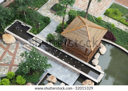 Top view of a beautiful garden in a Chinese new residential district - stock photo