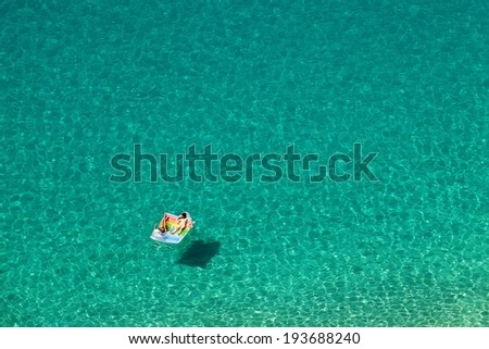 Top view of a beautiful turquoise sea .Calabria - Italy . - stock photo