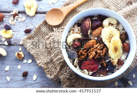 Top view of a bowl of muesli with oats, nuts and dried fruit on wooden table.