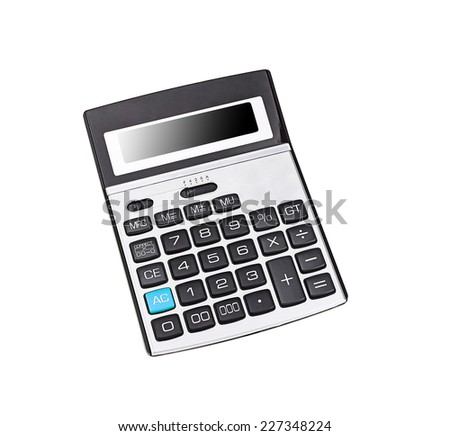 Top view of a calculator isolated - stock photo