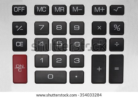 Top view of a calculator isolated on white background
