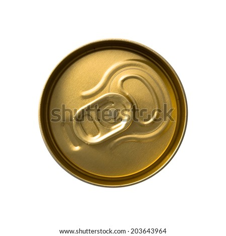 Top view of a can with key isolated on white - stock photo