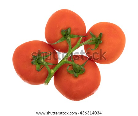 Top view of a cluster of organic red tomatoes isolated on a white background. - stock photo