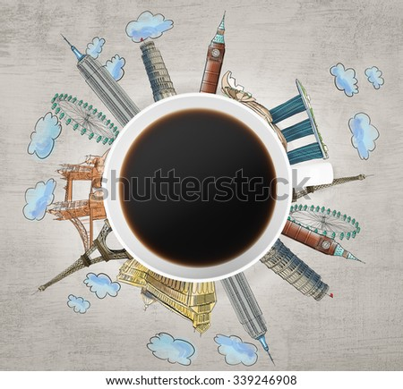 Top view of a coffee cup and drawn colourful sketches of the most famous cities in the world. The concept of travelling. London, Singapore, Pisa, Paris. Concrete background. 3D rendering. - stock photo