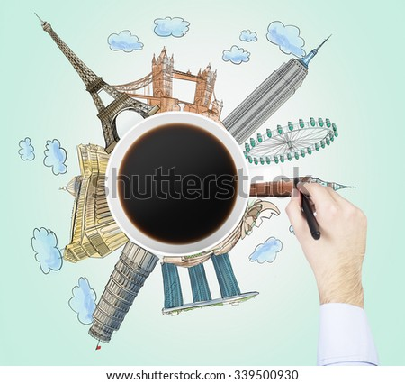 Top view of a coffee cup and the hand draws colourful sketches of the most famous cities in the world. The concept of travelling. London, Singapore, Pisa, Paris. Light green background. - stock photo