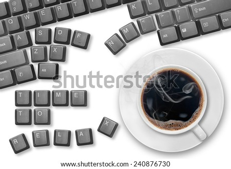 "Top view of a computer keys, scattered on a table, and cup of coffee. Keys from a computer keyboard arranged to spell ""Time to Relax"". High resolution image isolated on white background. - stock photo"