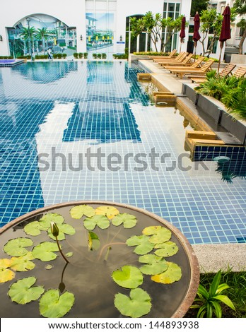 Top view of a condo swimming pool - stock photo