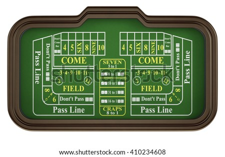 top view of a craps table on white background (3d render) - stock photo