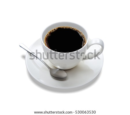 Top view of a cup of coffee, isolate on white