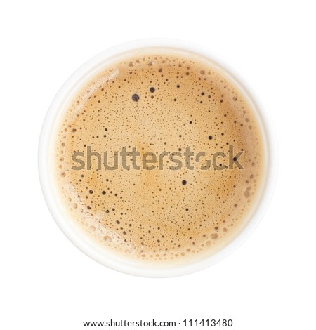 Top view of a cup of coffee isolated on white background - stock photo