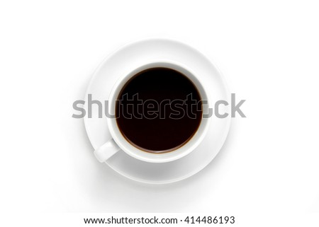 Top view of a cup of coffee, on white background