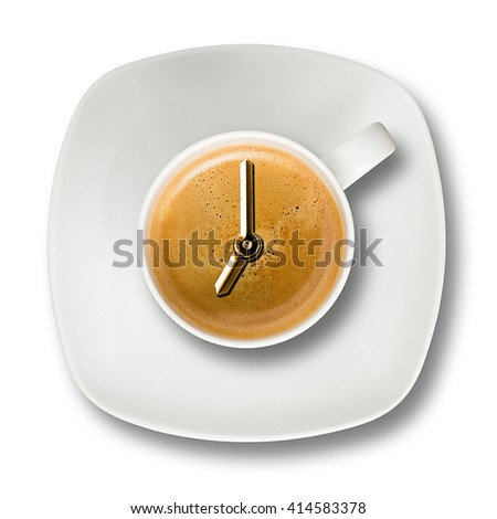 Top view of a cup of espresso coffee on white background and clock hands set to seven in the morning - stock photo
