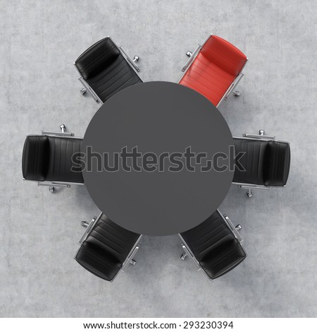Top view of a 3d rendering conference room. A black round table and six chairs around, one of them is red. Office interior. - stock photo
