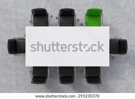 Top View of a 3d rendering conference room. A white rectangular table and eight chairs around, one of them is green. Office interior. - stock photo