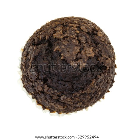 Top view of a double chocolate muffin isolated on a white background.