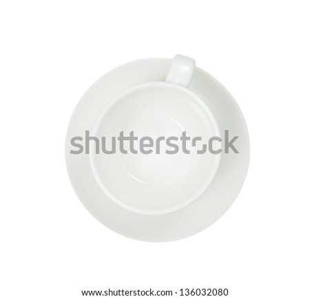 Top view of a empty coffee cup, isolate on white
