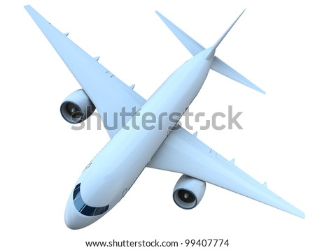 Top view of a flying passenger aircraft isolated on white background - stock photo