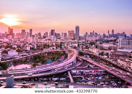 Top view of a freeway traffic jam pastel tone .Panoramic and perspective wide angle high rise building skyscraper commercial city of future. Business concept of success industry tech architecture - stock photo