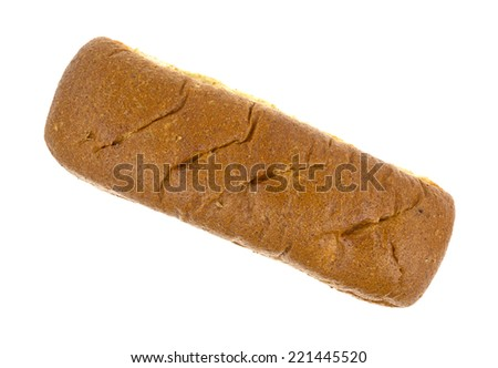 Top view of a freshly baked whole wheat sub roll on a white background. - stock photo