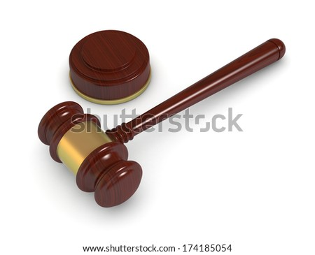 top view of a gavel, concept of justice or auction (3d render) - stock photo